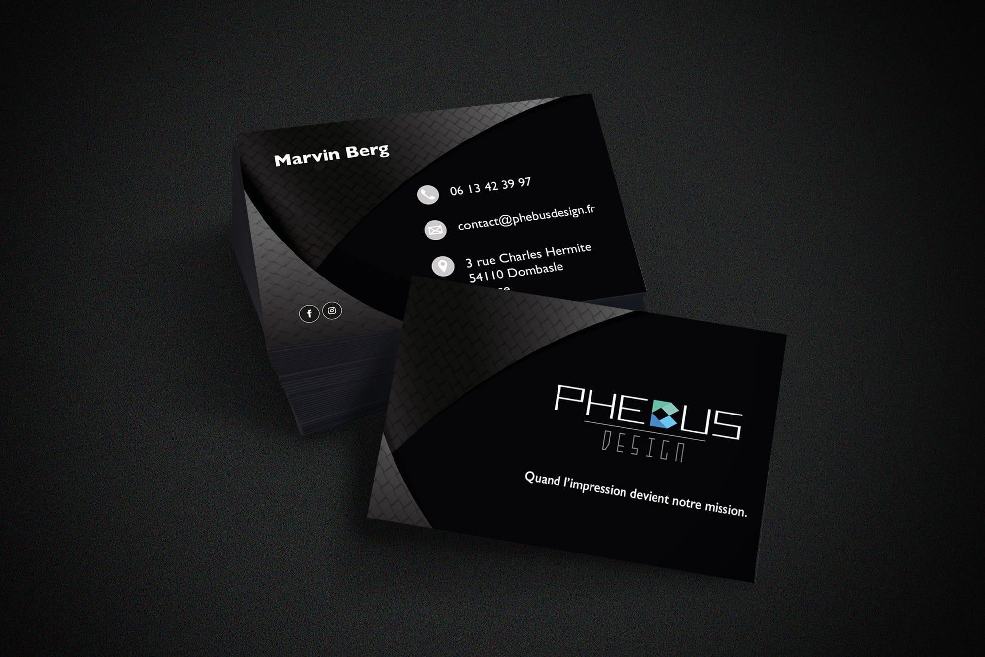Carte de visite noir phebus design sbcom steven berg